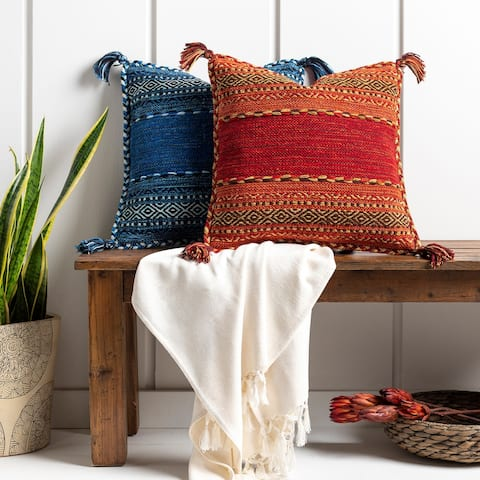 Southwest Tasseled 20-in. Square Throw Pillow (Poly OR Down Fill)