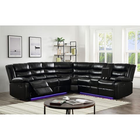 Nestor Faux Leather LED Reclining Sectional with Storage Console