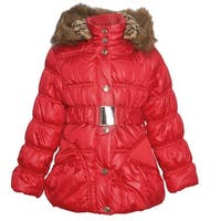 Urban Republic Little Girls Red Quilted Toggle Fur Trim Hooded Puffer Coat
