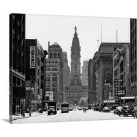 Premium Thick-Wrap Canvas entitled 1950's Downtown Philadelphia Pa USA Looking South Down North Broad Street At City