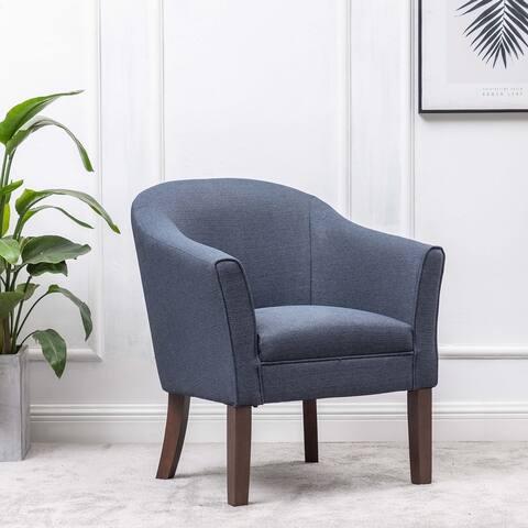 WOVENBYRD Classic Barrel Fabric Accent Chair