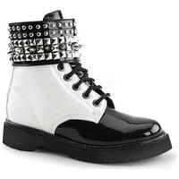 Demonia Women's Rival 106 Boot White Vegan Leather/Black Patent