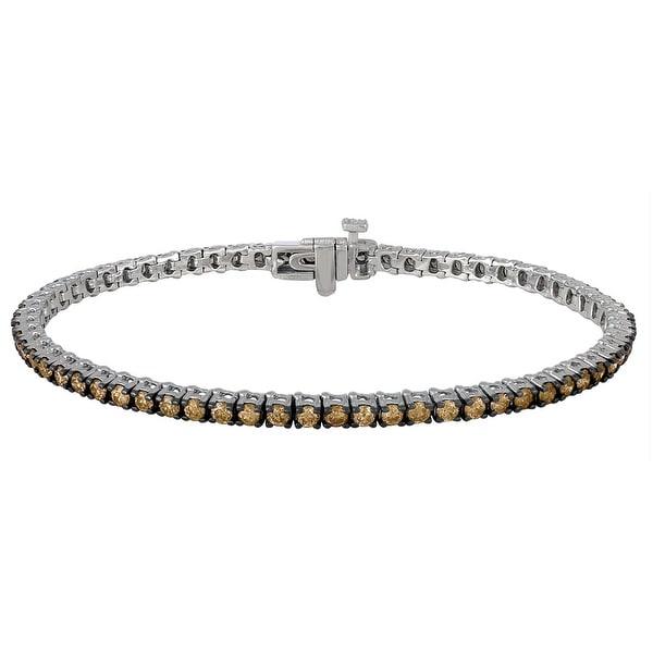 Prism Jewel 3.00 Carat Brown Color Natural Diamond Tennis Bracelet, 14K White Gold