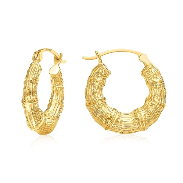 Mcs Jewelry Inc 10 KARAT YELLOW GOLD HOOP EARRINGS BAMBOO STYLE 20MM