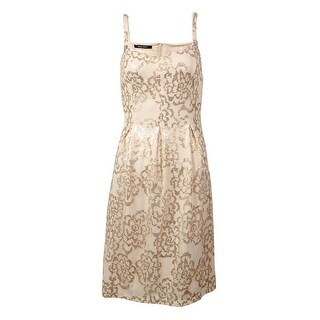 Nine West Women's Sequined Mesh A-Line Dress - blush