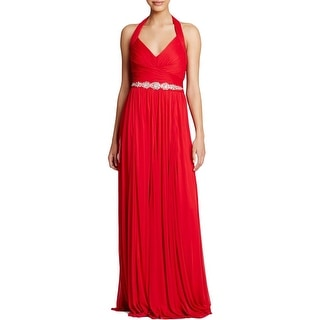 Adrianna Papell Womens Formal Dress Halter Jeweled - 4