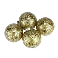 Pack of 4 Flashy Holographic Gold Sequin Glass Ball Christmas Ornaments 2.5""