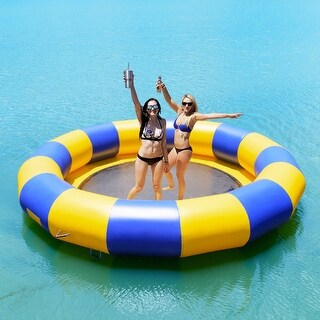 Goplus 15ft Inflatable Water Bounce Platform Jump Floated Water Trampoline Water Sport