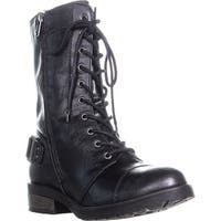 White Mountain Fiord Front Laced Side Zip Combat Boots, Black/Smooth