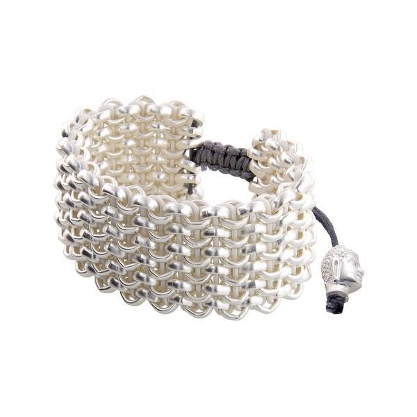 Links Women's White Six-Row Bracelet in Sterling Silver-Plated Brass