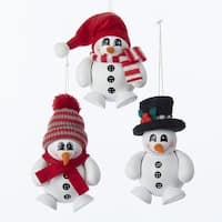 Club Pack of 12 Red and White 3D Snowman Christmas Decorative Ornaments 4.33""