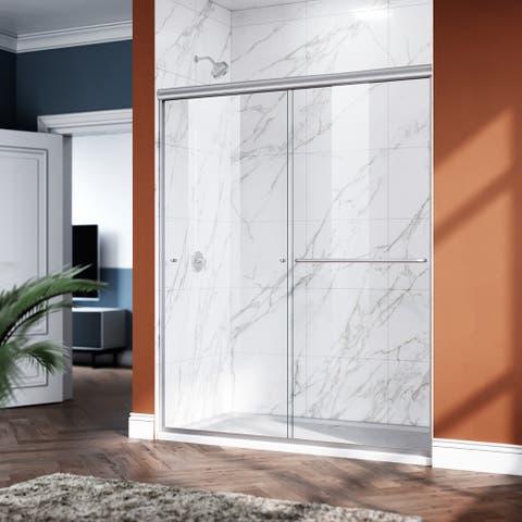 ELEGANT 58.5-60 x 72 Semi-Frameless Sliding Shower Door Brushed Nickel