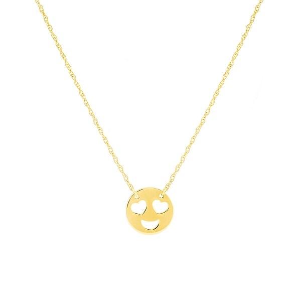 Amanda Rose 14k Yellow Gold Heart Eyes Smiley Necklace