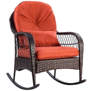 Costway Outdoor Wicker Rocking Chair Porch Deck Rocker Patio Furniture w/ Cushion - as pic