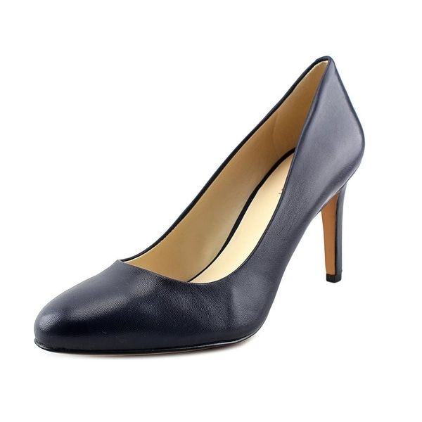 Nine West Handjive Women Round Toe Leather Blue Heels