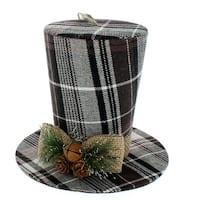 Brown Plaid Top Hat