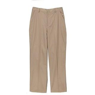 Big Boys Khaki School Uniform Pleated Elastic Waist Trouser Pants 16-20