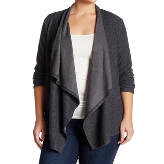Bobeau NEW Charcoal Gray Womens Size 4X Plus Draped Cardigan Sweater