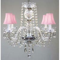 Swarovski Crystal Trimmed Chandelier Lighting & Pink Shades