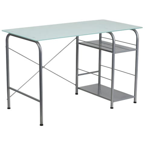 Silk White Glass Top Computer Desk with Open Storage and Silver Metal Frame
