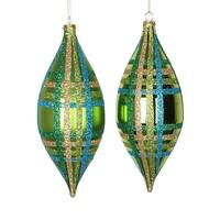 4ct Lime Green w/ Blue, Green & Gold Glitter Plaid Shatterproof Christmas Finial Drop Ornaments 7""