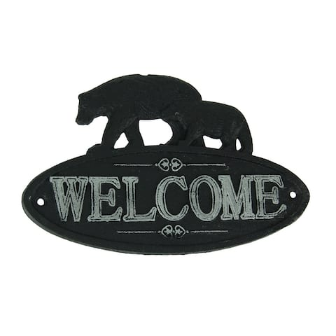Rustic Black and White Cast Iron Bear Pair Welcome Sign - 5.75 X 9.25 X 0.25 inches