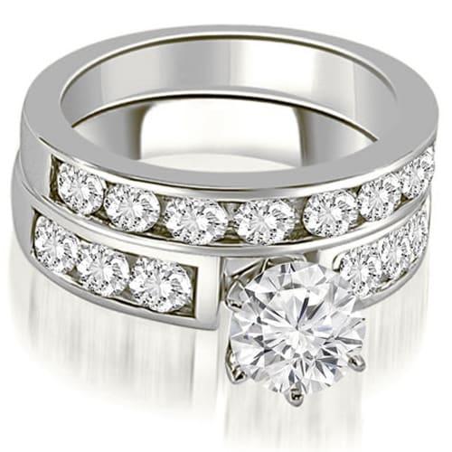 2.50 cttw. 14K White Gold Classic Channel Set Round Cut Diamond Bridal Set