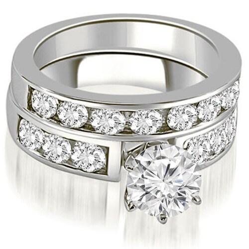 2.75 cttw. 14K White Gold Classic Channel Set Round Cut Diamond Bridal Set