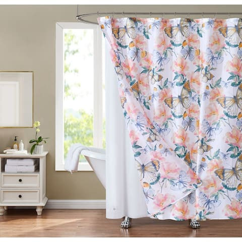 Sunset Park Butterflies 14-Piece Shower Curtain and Liner Set