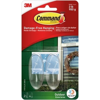 Command Medium Outdoor Window Hook 2/Pkg-2 Clear Hooks & 2 Strips