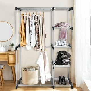 Link to Freestanding Clothes Organizer Rack with Shelves and Hanging Rods - Silver Similar Items in Laundry