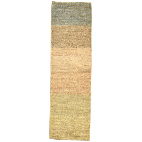 """One of a Kind Hand-Knotted Modern & Contemporary 6' Runner Stripe Jute Brown Rug - 1'8""""x5'10"""""""