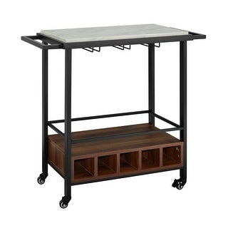 "Offex 34"" Black Marble Serving Bar Cart with Dark Walnut Base"