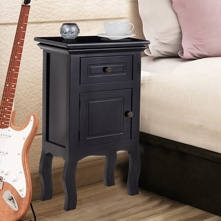 Costway Black Nightstand w/Storage Drawer and Cabinet, Wood End Accent Table