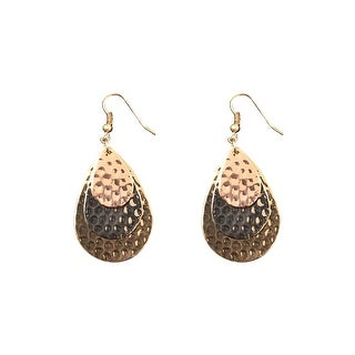 max & MO Tri-Tone Layered max & MO Hammered Teardrop Earring