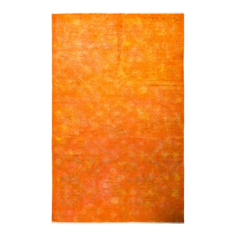 "Vibrance, One-of-a-Kind Hand-Knotted Area Rug - Orange, 5' 10"" x 9' 1"" - 5' 10"" x 9' 1"""