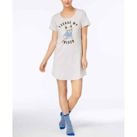 Jenni by Jenni Moore Women's Graphic-Print Sleepshirt and Socks French Set Size Small - Grey