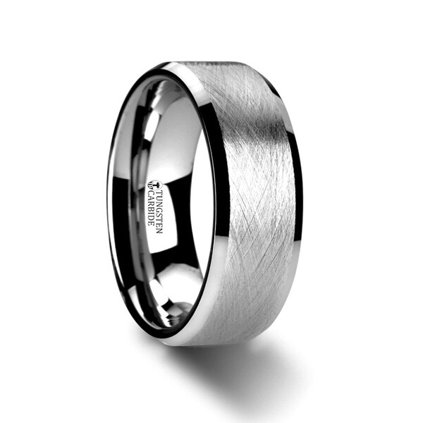 THORSTEN - THORNE Flat Tungsten Carbide Ring with Wire Brushed Finish and Beveled Edges