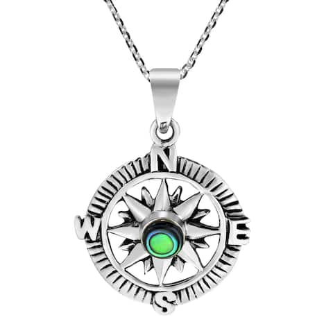 Handmade Wanderer Guide Sterling Silver Compass Inlaid Necklace (Thailand)