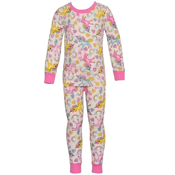 Mon Petit Baby Girls Multi Unicorn Print Long Sleeve 2 Pc Pajama Set 18M