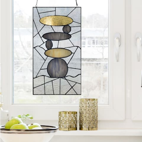 "River of Goods 18""H Namaste Stained Glass Window Panel"