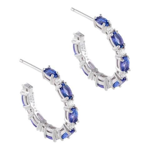 Oval-Cut Tanzanite Gemstone Hoop Earrings, Sterling Silver