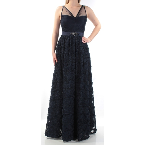 ADRIANNA PAPELL Womens Navy Rhinestone Textured Floral Sleeveless V Neck Full-Length Fit + Flare Evening Dress Size: 12