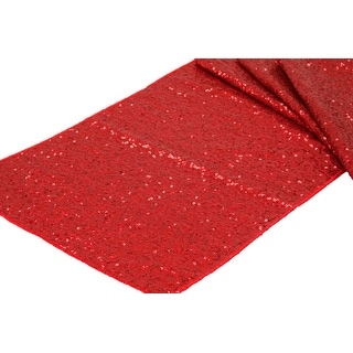 "12 Pieces, Glitz Sequin Table Runner Sequin all over on Taffeta base Approx. 12""x108"" - Red"