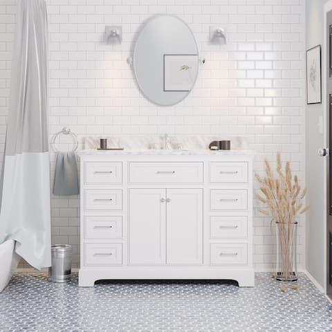 "KitchenBathCollection Aria 48"" Bathroom Vanity with Carrara Marble Top"
