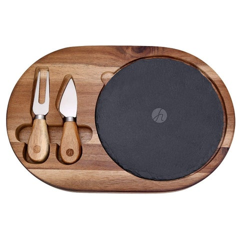 HUFTGOLD 4PCS Cheese Board Knife Set with Acacia Wood Cutting Board and Slate Board, Two Cheese Tools