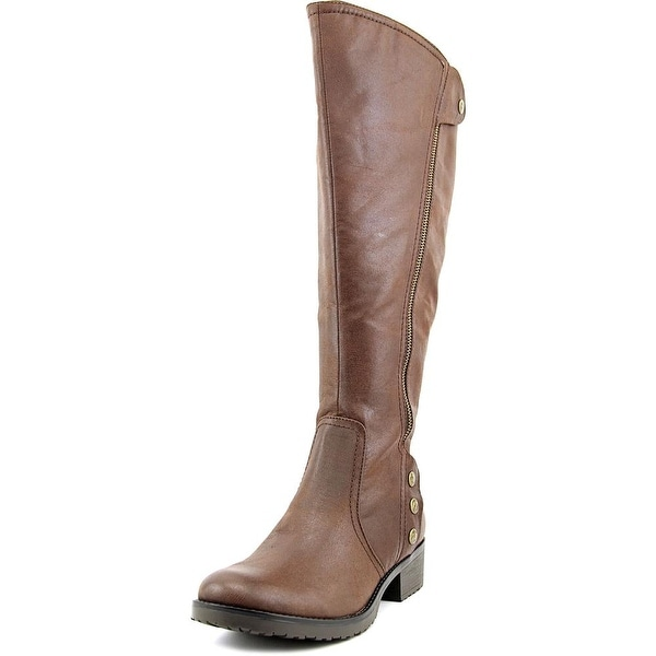 Baretraps Oria Wide Calf Women Round Toe Synthetic Brown Knee High Boot