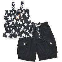 Lele Little Girls White Black Star Pattern Tie Accent 2 Pc Pant Set