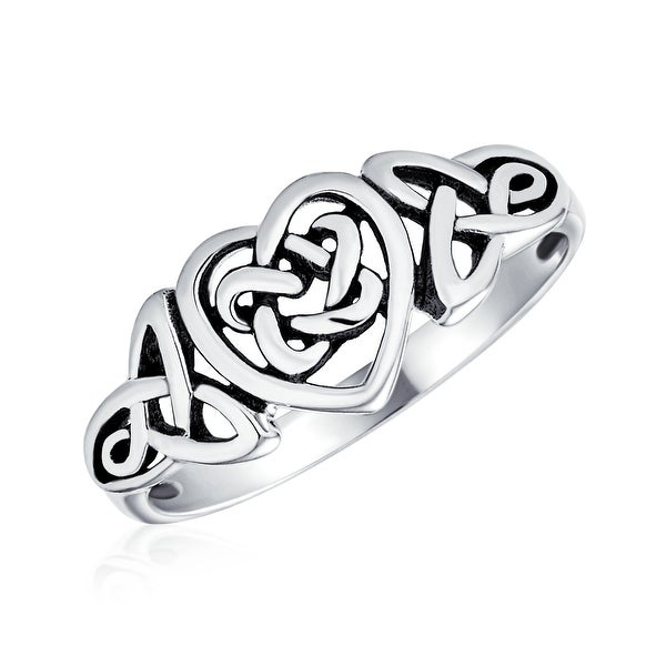 Irish Love Knots Infinity Heart Celtic Ring Sterling Silver 1MM Band. Opens flyout.