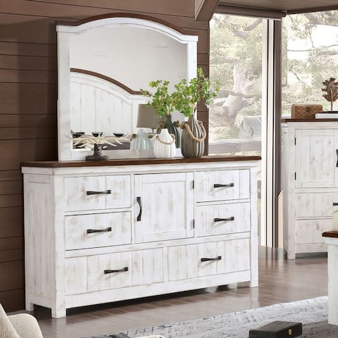 Furniture of America Ynez Transitional White Dresser and Mirror Set